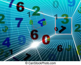 representa, hola, colegio, números, digital, tecnología