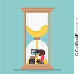 representa, hourglass., trabalhando, effort., difícil, aquilo, tempo, africano, homem negócios, infinito
