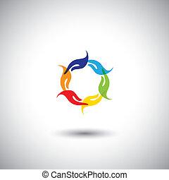 representa, multi, concepto, colorido, manos, -, comunidad,...