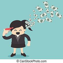 representa, negócio mulher, dinheiro., brilho, fazer