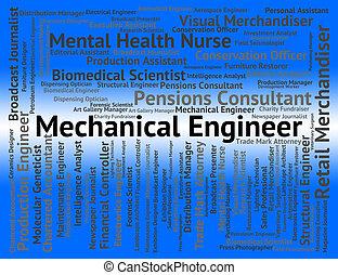 representa, reclutamiento, ingeniería, mecánico, posición, ingeniero