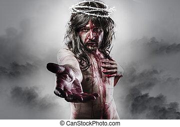 representación, de, el, resurrección, de, jesús, christ., calvary, y, religión, concepto