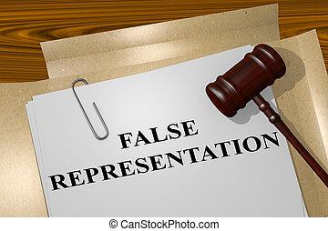 representación, falso, concepto, -, legal