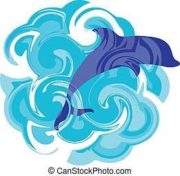 representación, ondulado, delfín, mar, saltar