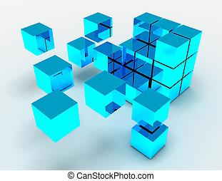 representado, abstratos, ilustração, cubos, concept., 3d