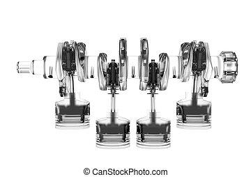 representado, cyclinder, 4, manivela, branca, transparente, 3d