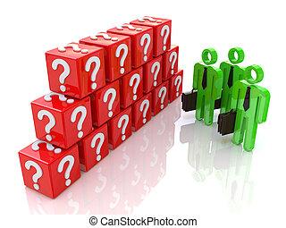 representado, grupo, pessoas, mark., pergunta, ilustração, 3d