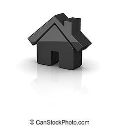 representado, illustration., casa, pretas, icon., brilhante, 3d