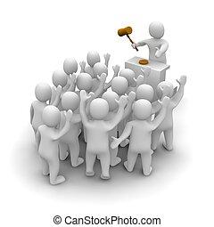 representado, illustration., hammer., leilão, auctioneer, madeira, segurando, 3d