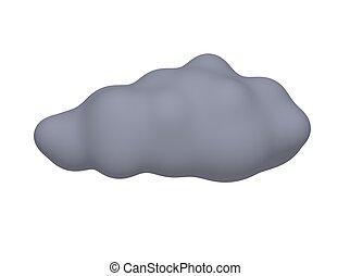 representado, illustration., isolado, escuro, white., nuvem tempestade, 3d