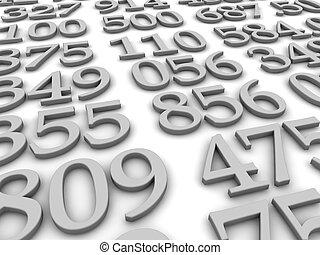 representado, ilustração, experiência., pretas, números, branca, 3d