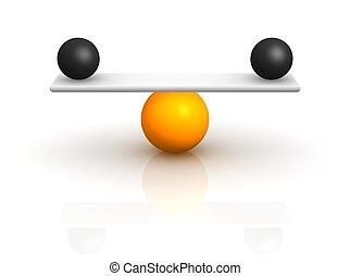 representado, isolado, ilustração, white., equilibrium., 3d