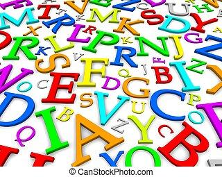 representado, letras, coloridos, ilustração, experiência., 3d