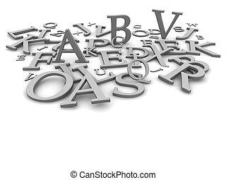 representado, letras, ilustração, experiência., pretas, branca, 3d