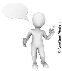 representado, pensando, pessoas., ilustração, above., fala, homem pequeno, bolha, 3d