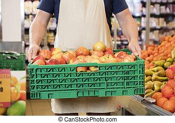 representant, bärande, äpplen, in, spjällåda, hos, specerier lager