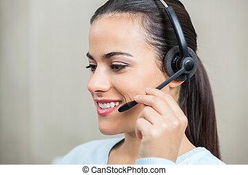 representante serviço cliente, usando, fones