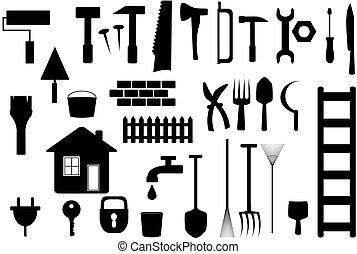representante, trabajo, herramientas, aislado, hogar