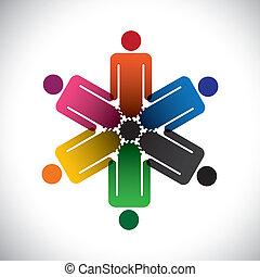representar, concepto, colorido, personas trabajo, simple,...