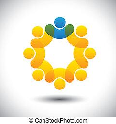 representar, concepto, supervisor, resumen, comunidad, director, y, -, también, vector., círculo, líder, miembros, líder, icono, gráfico, personal, esto, empleados, iconos, liderazgo, etc, lata, equipo