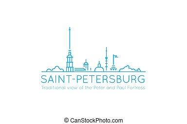 representar, estilo, utilizado, a menudo, fortaleza, imagen, o, línea, uso, ilustración, símbolo, tradicional, vista panorámica, petersburg., paul, peter, logo., s., contornos, icono