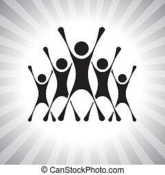 representar, gente, graphic., miembros, también, ganadores, excitado, lata, emocionado, después, ilustración, desafío, saltar, competidores, súper, gente, esto, competition-, etc, vector, victoria, equipo
