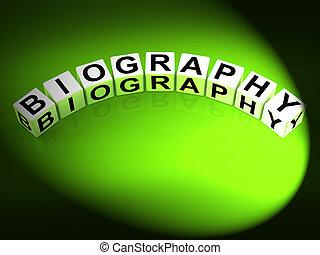 representar, vida, dados, historia, escritura, memoria, o,...