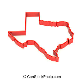 representation., 地域, map., 州, テキサス, 領土, 赤, 3d
