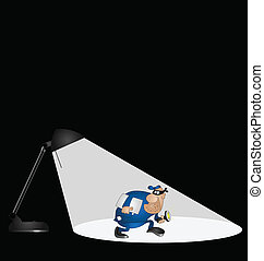 Representation of crime being under the spotlight with copy space