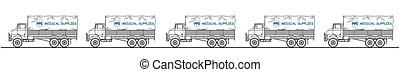 Representation of medical supplies truck convoy