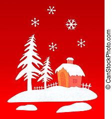 Representation with Christmas house in the woods with snow.