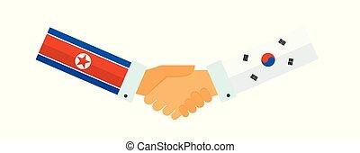 Representatives of the South and North Korea shake hands. Korea peace talks. vector illustration