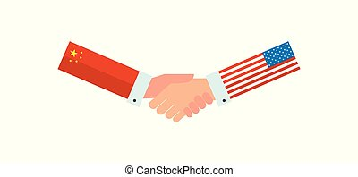 Representatives of the USA and China shake hands in front of an American and Chinese flag. vector illustration