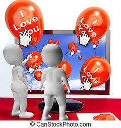 represente, amantes, amor, saudações, internet, tu, balões