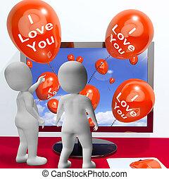 represente, amantes, amor, saudações, online, tu, balões
