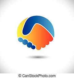 represente, conceito, pessoas, shake., sociedade, &, -, gestos, também, unidade, novo, amizade, ilustração negócio, mão, amigos, ícone, gráfico, este, saudação, confiança, etc, vetorial, lata, ou