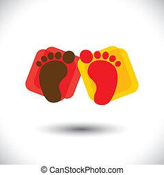 represente, escola, graphic., sinal, bebê, berçário, &, -, jardim infância, foot-print, jogo, coloridos, criança, símbolo, ilustração, toddlers, par, cuidado, escola brinca, este, centros, etc, vetorial, lata, ou
