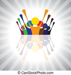 represente, simples, graphic., protesto, together-, crianças, pessoas, disposição, união, também, empregado, demonstração, ilustração, crianças, este, pessoas, ou, vetorial, tocando, lata, divertimento, tendo