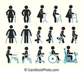 representera, sätta, ikonen, folk, equipment., ortopedisk, ...