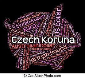 representerar,  forex, tjeck,  koruna,  czk, handel