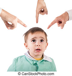 Reprimanded child - Frightened child shown by so many...
