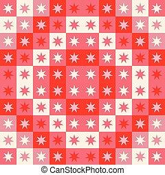 reprise, cream., fête, modèle, seamless, stars., vecteur, conception, géométrique, carrés, noël, rouges