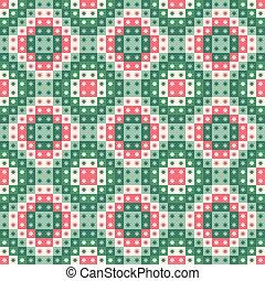 reprise, fête, modèle, seamless, noël, stars., vecteur, conception, vert, géométrique, carrés, red.