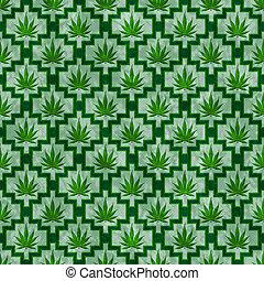 reprise, modèle, marijuana, arrière-plan vert, carreau