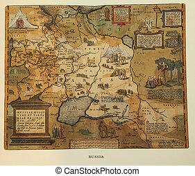 reprodução, de, 16º século, mapa, de, rússia, gravado, e,...