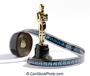 reproductie, oscar, standbeeld, met, een, rol, van, movie...