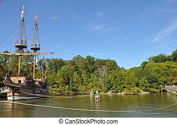 reproductie, van, colonial-era, schepen, op, de, jamestown,...