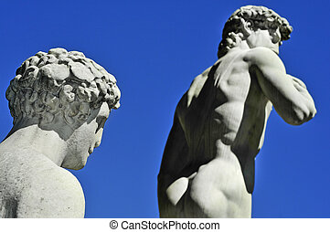reproductie, van, de, david door michelangelo, in, florence,...