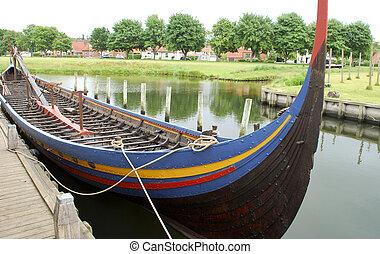reproductie, van, een, viking schip