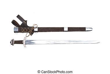 reproductie, van, oud, stiklestad, viking, zwaard, met, schede